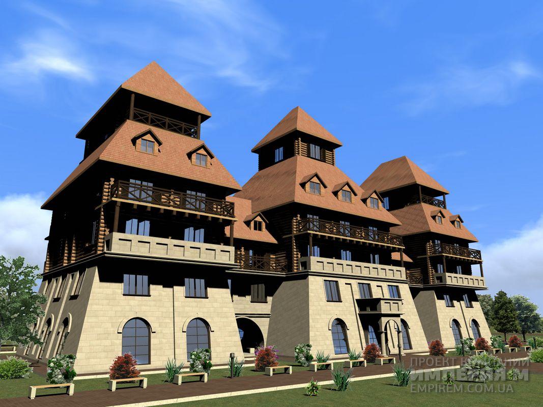 Фасад 5 и этажной гостиницы отеля русь